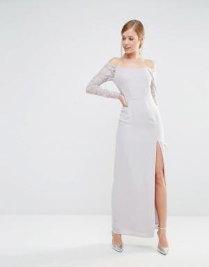 Elise Ryan Платье макси с открытыми плечами и кружевными рукавами. Цвет: серый