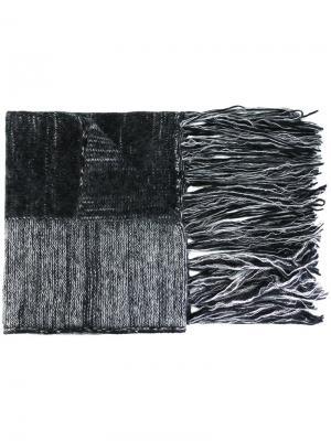 Полосатый шарф с бахромой Ilaria Nistri. Цвет: серый