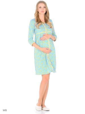 Халат женский для беременных и кормящих Hunny Mammy. Цвет: голубой, желтый