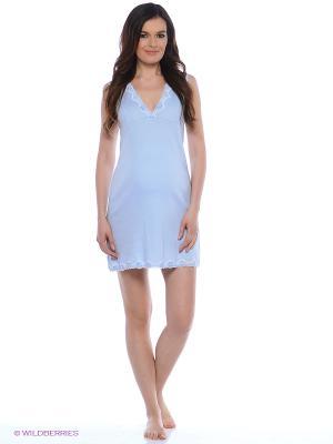 Ночная сорочка для беременных и кормящих с кружевом Hunny Mammy. Цвет: голубой