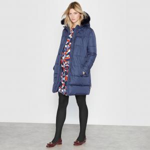 Куртка стёганая с капюшоном для беременных La Redoute Collections. Цвет: темно-синий,черный