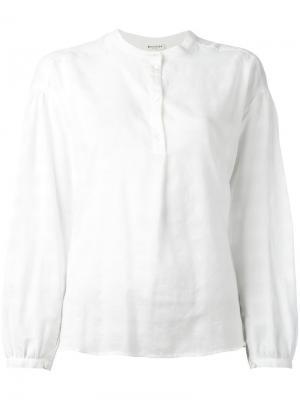 Однотонная клетчатая рубашка без воротника Masscob. Цвет: белый