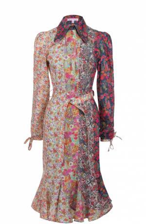 Приталенное платье-рубашка с поясом Olympia Le-Tan. Цвет: голубой