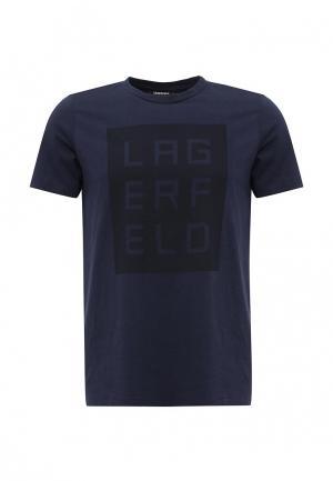 Футболка Lagerfeld. Цвет: синий