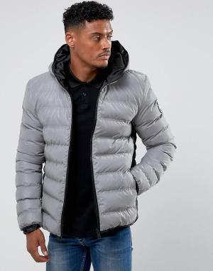 Good For Nothing Дутая куртка со светоотражающей отделкой. Цвет: серый