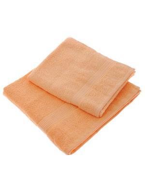 Набор из 2х махровых полотенец персик - 50*90, 70х140, УзТ-НПМ-102-24 Aisha. Цвет: персиковый