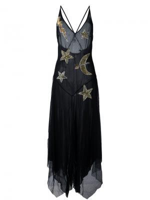 Прозрачное платье с декорированными звездами Amen. Цвет: чёрный
