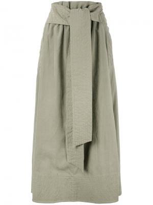 Плиссированная юбка с эластичным поясом Joseph. Цвет: зелёный