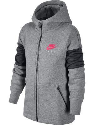 Толстовка B NK AIR HOODIE FZ Nike. Цвет: серый