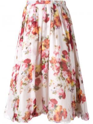 Юбка с цветочным принтом DressCamp. Цвет: телесный