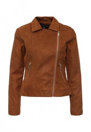 Куртка кожаная Dorothy Perkins. Цвет: коричневый