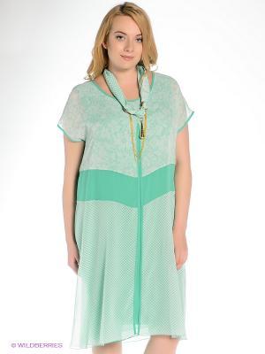 Платье Gemko plus size. Цвет: зеленый, белый