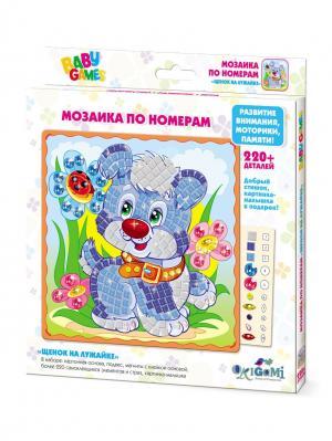 Origami. Мозаика по номерам Щенок на лужайке Origami. Цвет: светло-зеленый, голубой, светло-серый