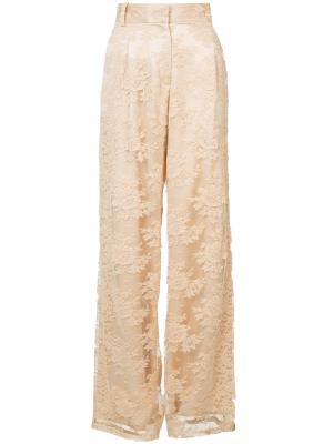 Широкие брюки с кружевной отделкой Ryan Roche. Цвет: жёлтый и оранжевый