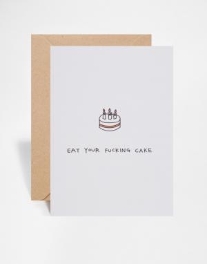 OHH DEER Поздравительная открытка на день рождения Eat Your Cake. Цвет: мульти