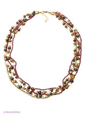 Ожерелье ГАНГ. Цвет: бордовый, молочный, черный