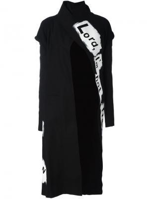 Пальто с графическим принтом Yohji Yamamoto. Цвет: чёрный