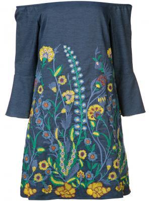 Платье с цветочной вышивкой Alice+Olivia. Цвет: синий