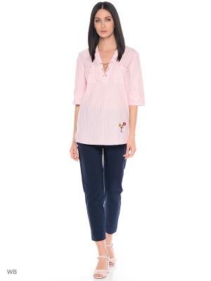 Блузка Samirini. Цвет: розовый, белый