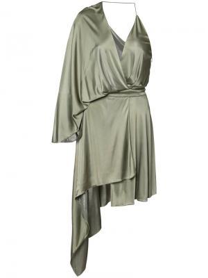 Асимметричное платье с оборками Alexandre Vauthier. Цвет: зелёный