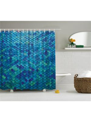 Фотоштора для ванной Однотонные узоры, 180*200 см Magic Lady. Цвет: синий, голубой, зеленый, черный