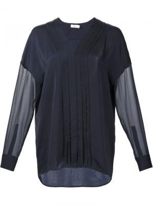 Прозрачная блузка с плиссировкой спереди Vince. Цвет: чёрный