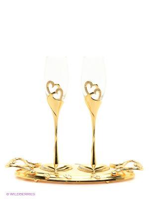 Набор бокалов на подносе Marquis. Цвет: золотистый, прозрачный