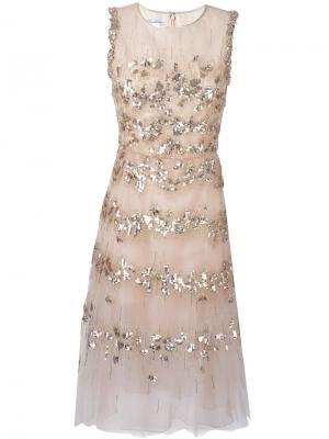 Декорированное платье Oscar de la Renta. Цвет: телесный