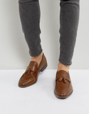 River Island woven loafer with tassels in tan. Цвет: рыжий