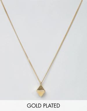 Love Bullets Золотистое ожерелье с подвеской в виде ромба Lovebullets. Цвет: золотой