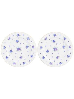 Набор десертных круглых тарелок Сиреневый туман Elan Gallery. Цвет: белый,голубой,сиреневый