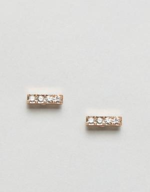 Pilgrim Серьги с покрытием из розового золота камнями. Цвет: золотой