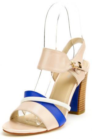 Туфли летние открытые RIDLSTEP. Цвет: бежевый, синий