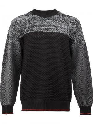 Двухцветный свитер 08Sircus. Цвет: чёрный