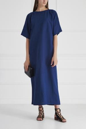 Платье из хлопка и льна Cyrille Gassiline. Цвет: синий