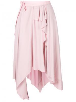 Асимметричная юбка с драпировкой Erika Cavallini. Цвет: розовый и фиолетовый
