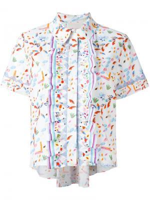 Укороченная блузка с оборками Peter Pilotto. Цвет: белый
