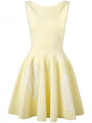 Расклешенное платье с вышивкой Antonino Valenti. Цвет: жёлтый и оранжевый