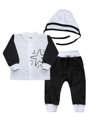 Набор одежды: кофточка, штанишки, чепчик КОТМАРКОТ. Цвет: белый, черный