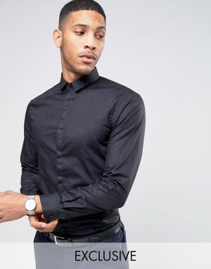 Noak Рубашка скинни с маленьким воротником. Цвет: черный