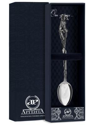 Ложка чайная Утиная охота с чернью + футляр АргентА. Цвет: серебристый