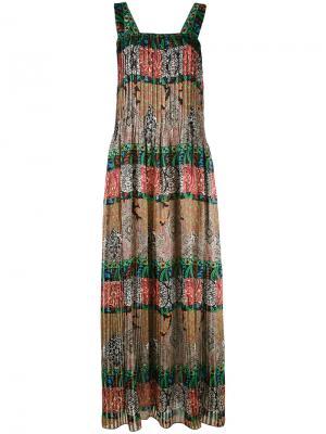 Длинное платье с комбинированным принтом Oscar de la Renta. Цвет: чёрный