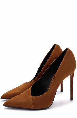 Замшевые туфли на шпильке Balmain. Цвет: коричневый