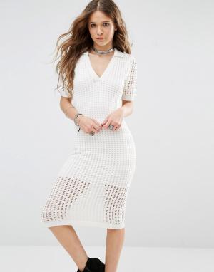 Honey Punch Сетчатое облегающее платье миди. Цвет: кремовый