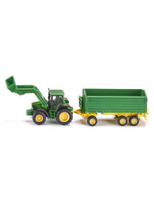 Трактор Джон Дир с ковшом и прицепом-кузовом, зел. SIKU. Цвет: зеленый, желтый