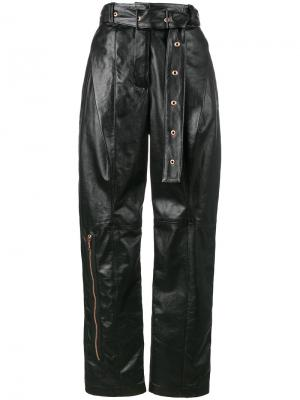 Leather Belted Straight Pant Proenza Schouler. Цвет: чёрный