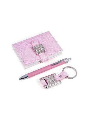 Подарочный набор: ручка, визитница, брелок Русские подарки. Цвет: бледно-розовый