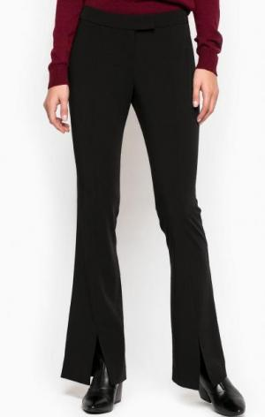 Расклешенные однотонные брюки из полиэстера Stefanel. Цвет: черный