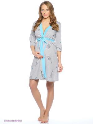 Халат для беременных ФЭСТ. Цвет: серый, голубой