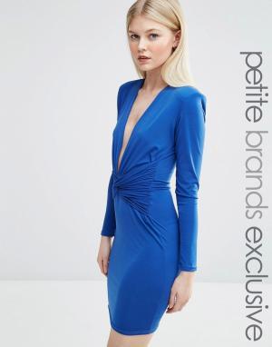 John Zack Petite Облегающее платье мини с длинными рукавами и декольте. Цвет: синий